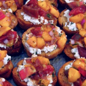 Grilled Peach and Tomato Bruschetta